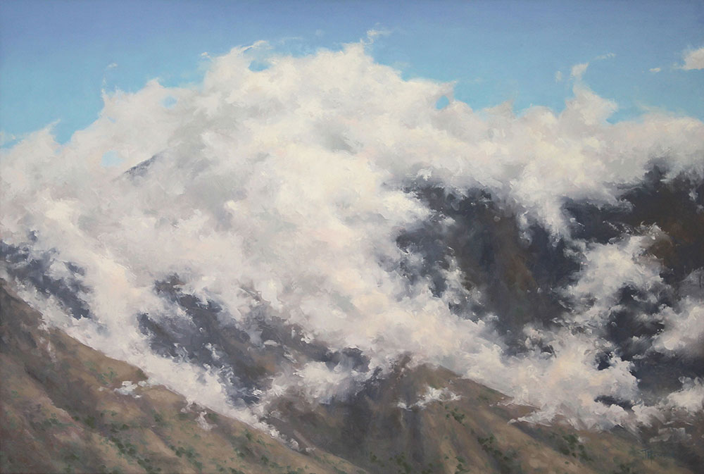 Sacred Mountain Tops<br>20x30 oil on panel<br>Honorable mention 2017 Springville MOA Spiritual and Religious Show<br>Available $2500